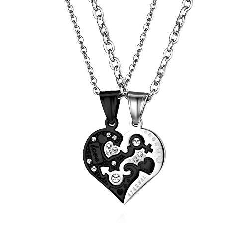 JewelryWe Collana Puzzle Ciondolo Cuore Coppia Fidanzati Love Eternal in Acciaio Inossidabile Colore Nero/Oro