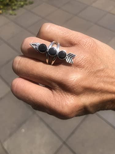 Ethnos Barcelona - Anillo de plata y onix. Talla: 11**pequeño**