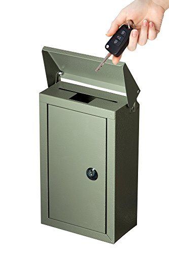 Outdoor Large Key Drop Box Galvanized Steel Wall-Mount Powder-Coated Key Fob Lock Box by Work Affinity (Gray)