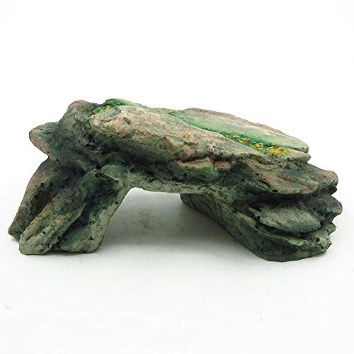 YAOHEHUA Guaridas Piedras hábitats Reptiles y Anfibios Refugio de sombrilla anfibia Reptil Tortuga pequeña Cueva de Escalera de triángulo 18 * 9.5 * 8 cm