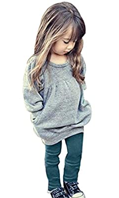 CM C&M WODRO Toddler Girls Clothes Winter Warm Long Sleeve Tops+Long Pants Set (Gray, 2-3 Years(100)) by