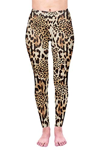 kukubird Printed Leopard Patterns Women's Yoga Leggings Gym Fitness Running Tights Size 6-10 Stretchable - Mix Leopard Print