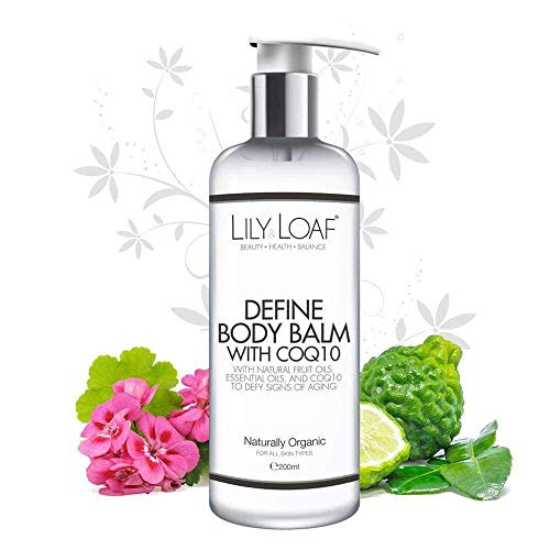 Lily & Loaf Define Body Balm with CoQ10. Luxurious and Anti-Ageing body cream. Maintains Skin Elasticity, hydrates and leaves your skin feeling soft. Organic, Hypoallergenic & Vegan - 200ml