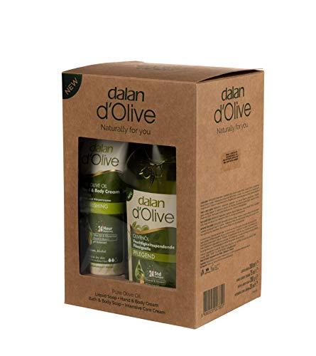 Dalan d\'Olive 4er Pflege Set Karton Bodycreme 75ml, Flüssigseife pflegend 300ml, Olivenseife 200g und Intensiv Creme 20ml