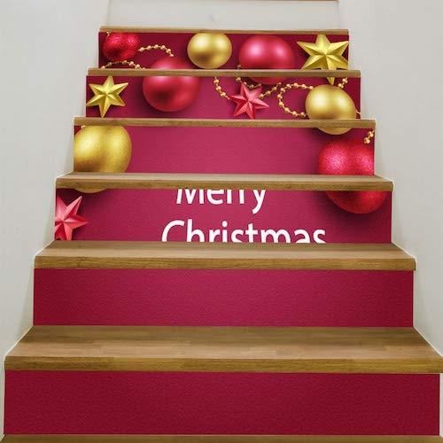 WZhen Christmas Decorations Balls Pattern Stair Stickers - Tutti Frutti 6Pcs:39 * 7 Inch(No Frame)