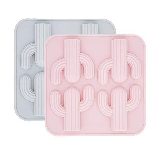 MoldFun 2-Pack Cactus Ice Cube Tray Cacti Silicone Molds for DIY Chocolate Candy Gummy Gelatin Jello Jelly Baking Cake Soap Crayons Wax Melt Plaster of Paris Kitchen Pastry Tools (4-Cavity, Pink/Gree)