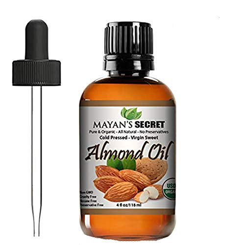 Unrefined Sweet Almond Oil |USDA Certified Organic | Cold Pressed | Hexane Free | Natural Moisturizer |Great For Hair, Skin & Nails | Carrier Oil | Great To Dilute Essential Oils Mayan's Secret