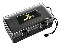 top 10 savoy boveda humidor Savoy Black Clear Top Travel Cigar Humidor, 10 Cigar Capacity