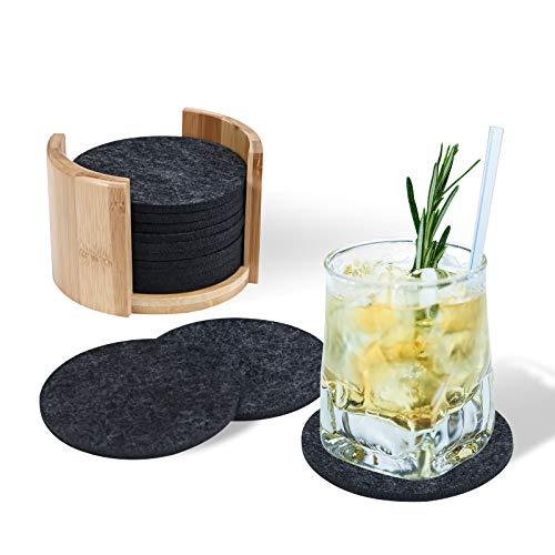 CAVEEN Filz Untersetzer für Gläser 12 Stück 10 cm Durchmesser inkl. Holzbehalter Glasuntersetzer Bieruntersetzer Premium Tischuntersetzer Filzuntersetzer für Getränke, Tassen, Bar, Schwarz