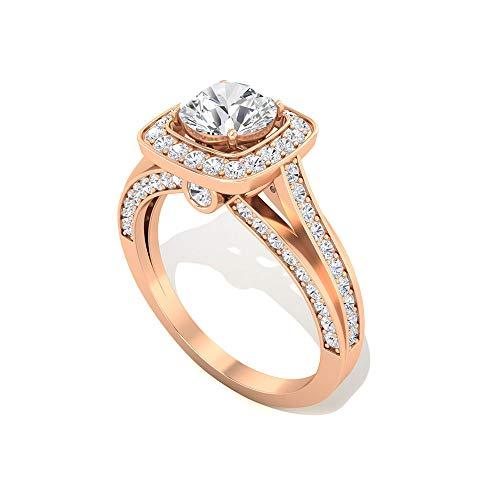 Anillo de compromiso con certificado IDCL de Moissanite de 0,60 ct, solitario antiguo anillo de novia de piedra preciosa, DEF-VS1 claridad de color, 14K Oro rosa, Size:EU 70