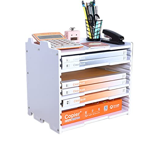 A3レターケース 書類ケース 卓上収納ラック 書類ホルダー 書類トレー 高さ調節可能 横型 縦型 4段(浅深対応) 小物収納 整理整頓 積み重ね 頑丈 おしゃれ 組立簡単(横型)