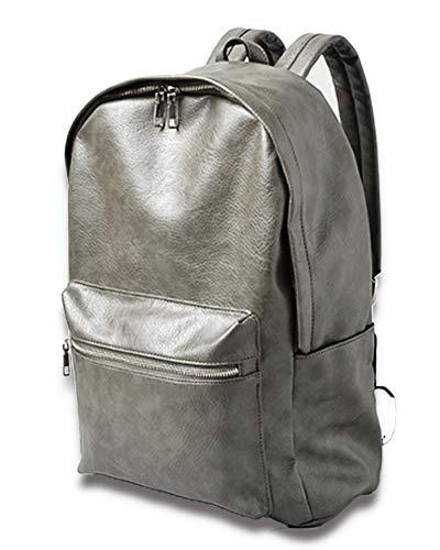 [VIVA-ILL] 大容量 シンセティック レザー リュックサック バックパック メンズ レザーリュック デイパック バッグ 20L キャメル ブラウン