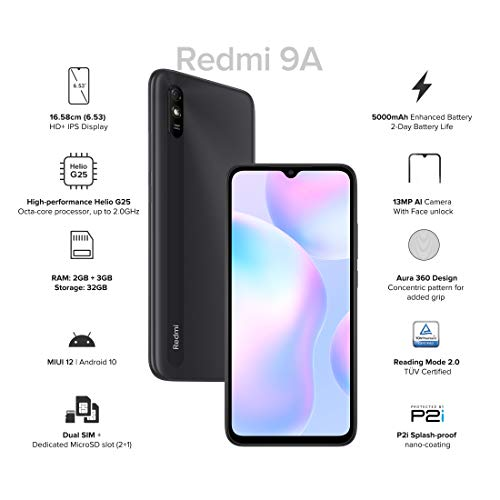 Redmi 9A (Midnight Black, 2GB RAM, 32GB Storage) | 2GHz Octa-Core Helio G25 Processor