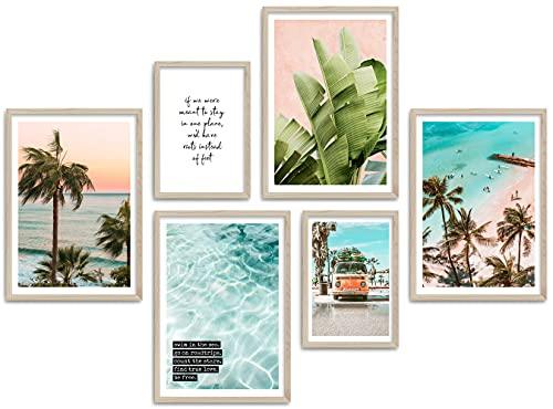 ARTFAVES® Poster Set - SUMMER VIBES   Wanddeko Wohnzimmer & Schlafzimmer   6 moderne Wandbilder   Bilder Sommer, Strand, Meer, Palmen, Surf, Beach, Ocean   ohne Bilderrahmen