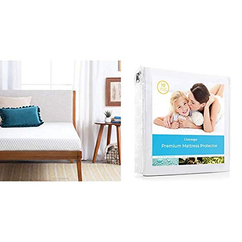 """Linenspa Firm Support 5"""" Gel Mattress, Full, White & LS0PFFMP Premium Smooth Fabric Mattress Protector-100% Waterproof-Hypoallergenic-Vinyl Free Protector, Full, White"""
