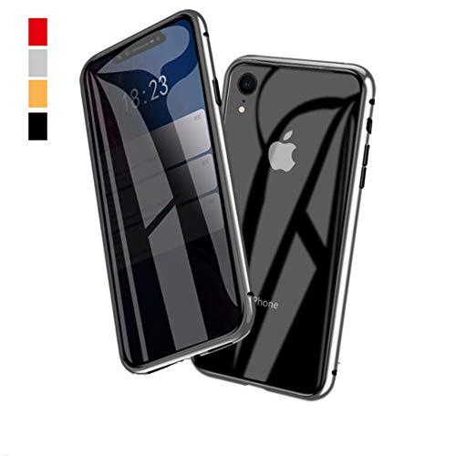 ONEYMM iPhone X/XS/XR Funda Anti-pío Adsorción Magnético 360 Grados Delantera y Trasera de Transparente Vidrio Templado Case Cover Metal Bumper Cubierta,Plata,iPhone8PlUS