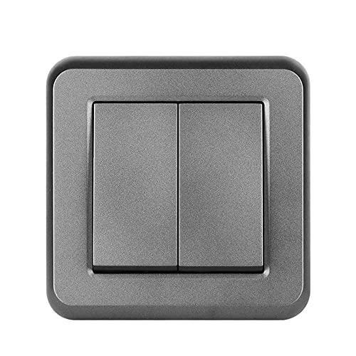 interruptor de luz 2gang 2way 16a 250v Rotura a través de escaleras Nuevo panel de PC retardante de llama blanco 82mm * 82mm Switch de pared UE-gris