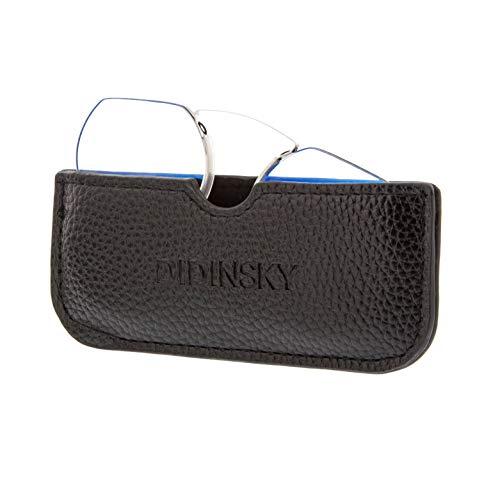 Lesebrille für damen und herren randlose transparent. Blaulicht das Computerleser blockiert. Unzerbrechliche Anti-Glare-Brille im Taschenformat. Black +1.5 - HERMITAGE ROUND