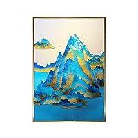 ピーコックブルー抽象的な風景写真マウンテンキャンバス絵画ポスタープリントウォールアートモダンなリビングルームの装飾-60x90cmx1フレームなし