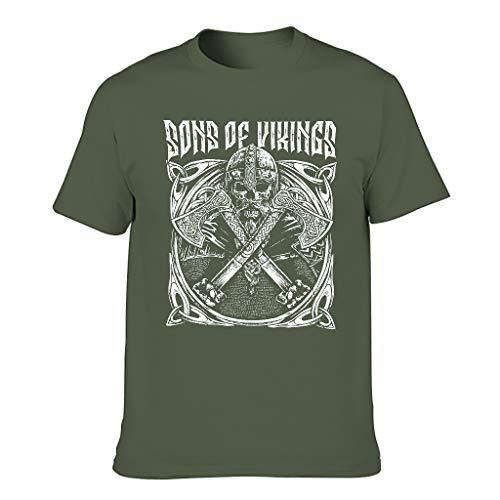 Camiseta clásica para hombre, diseño vikingo de Odin con calavera, casco, ejes, nudo celta, impresión fantasía, escudo verde militar XXXXXL