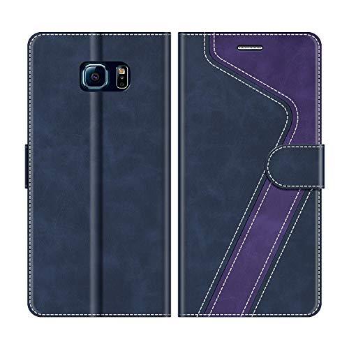 MOBESV Custodia Samsung Galaxy S6 Edge, Cover a Libro Samsung Galaxy S6 Edge, Custodia in Pelle Samsung Galaxy S6 Edge Magnetica Cover per Samsung Galaxy S6 Edge, Blu Scuro/Viola