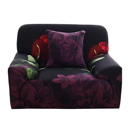 YeVhear - Funda de sofá con estampado de color rosa, universal, funda de sofá extensible, 1 pieza para perro de compañía, incluye funda de cojín gratis (negro morado, pequeño)