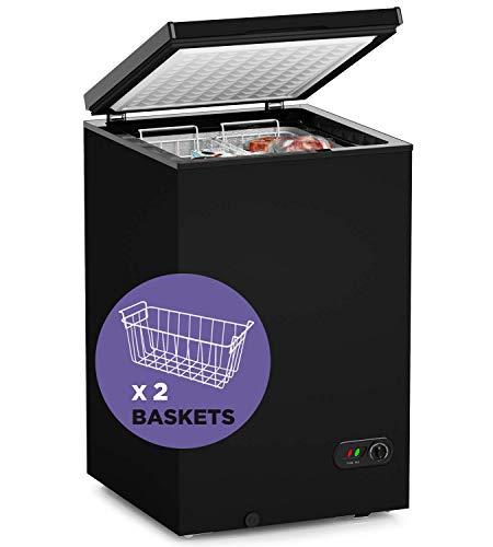 ADT Chest Freezer Free-Standing Top Door Freezers 6.8℉ to -4℉ (Black, 3.5 Cubic Feet)