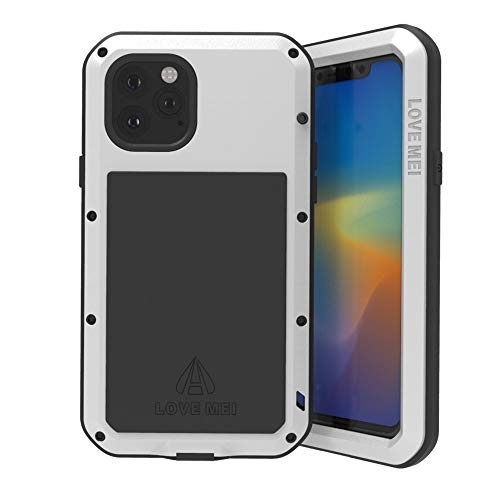 LOVE MEI per iPhone 11 PRO Max Custodia,Outdoor Heavy Duty Antiurto Impermeabile Polvere-Prova Sporcizia-Prova in Alluminio Metallo Cover con Vetro Temperato per iPhone 11 PRO Max (6.5'') (Argento)