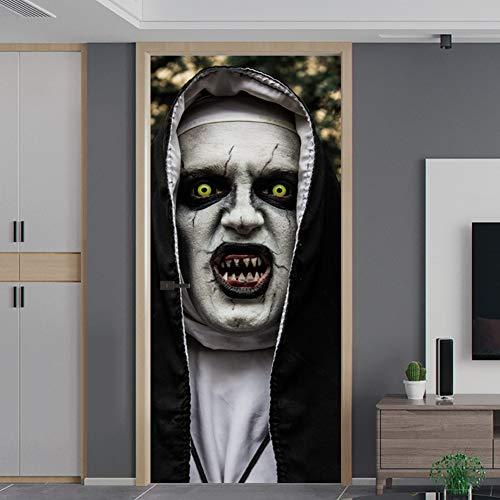 Changor Etiqueta engomada autoadhesiva, calcomanías murales de la Puerta 38.5x200cm Halloween Panic Atmosphere Horror Design con PVC