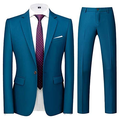 Allthemen Mens Suits 2 Piece Regular Fit Wedding Dress Suit One Button Business Suit,Lake Blue,XL
