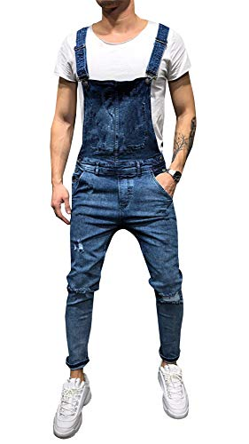 LONGBIDA Men's Denim Bib Overalls Fashion Slim Fit Jumpsuit with Pockets(Dark Blue,L)