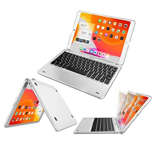 iPad 10.2インチ(第8世代、2020)用キーボード, Arteck超薄型Bluetoothキーボード フォリオケースカバー スタンド付き Apple iPad 10.2第八世代2020 / 第七世代2019に対応 130°旋回