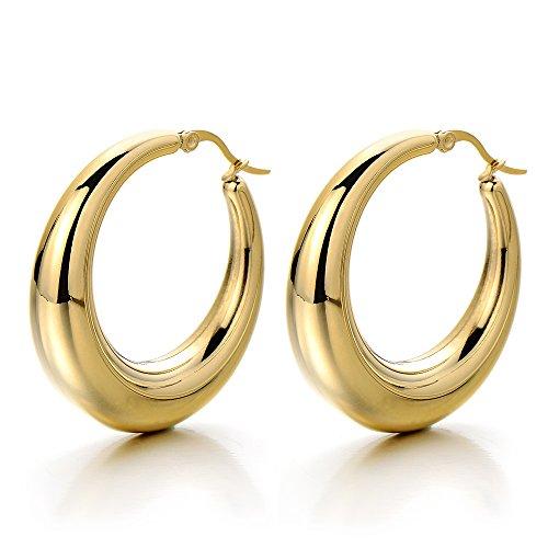 2 Oro Vuota Cerchio Orecchini a Cerchio, Orecchini da Donna Ragazze, Acciaio Inossidabile