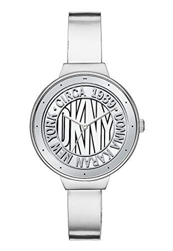 DKNY Damen-Uhren Analog Quarz One Size Silber Leder 32002089