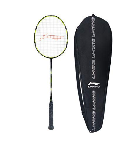 Li-Ning SS-20-G5 Carbon-Graphite Strung Badminton Racquet, S1 (Black/Lime) with Free Racket Cover