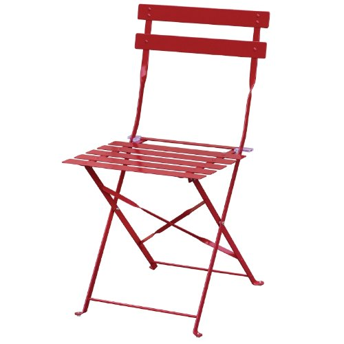 2X Bolero Pavement Style Steel Chairs Red For Indoor And Outdoor 800X387X471mm