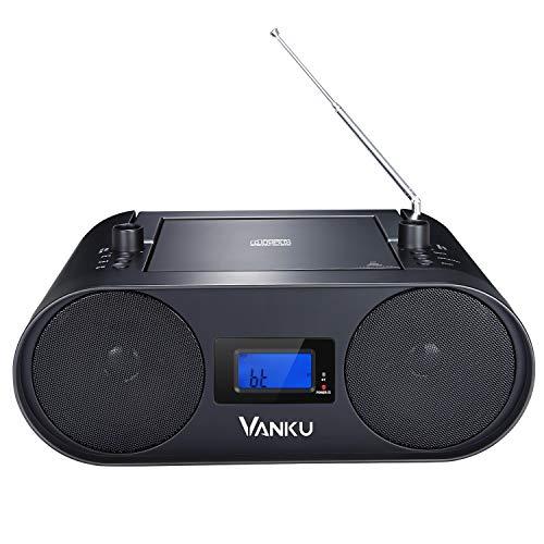 Vanku 2000 mAh Akku tragbares Radio Mit CD Player Boombox Eingebaute Wiederaufladbare Lithium Batterie Unterstützt Bluetooth USB FM AUX-In