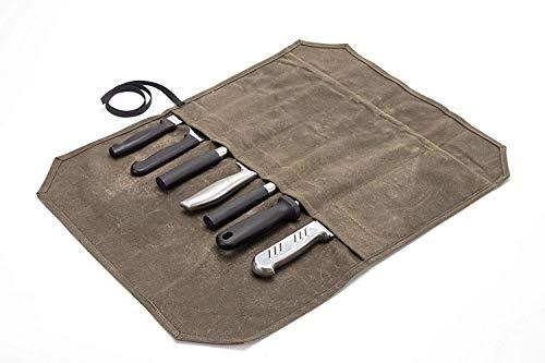 HANSHI HGJ60-C Bolsa de lona encerada para cuchillos de 12 onzas, bolsa de almacenamiento portátil con 7 ranuras para cuchillos, con envoltorio