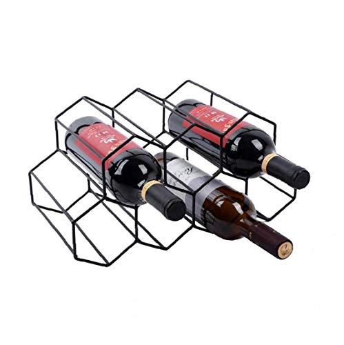 Estante del vino vino de almacenamiento de soporte 7 botella del sostenedor del vino del estante del soporte del soporte para ahorrar espacio protector de la encimera libre de estante del vino Negro