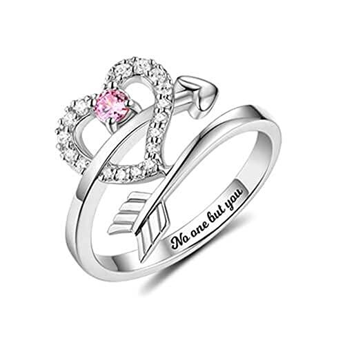 Anillo de piedra natal personalizado con flecha a través del corazón Anillo con nombre grabado Anillo de compromiso de plata(Plata 21)