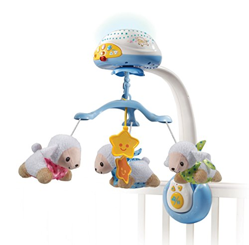 VTech – Baby Schaapjes Lichtmobiel – Wit met Blauw – Pluche – Voor Jongens en Meisjes – Van 0 tot 36 maanden – Nederlands Gesproken