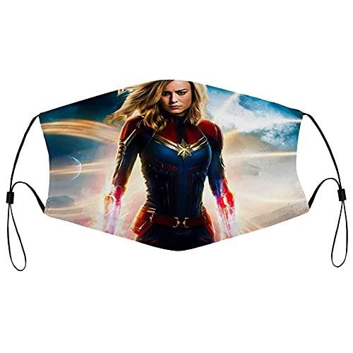 Best-design Máscara facial Capitán Marvel, lavable, reutilizable, para proteger la cara de la boca, pasamontañas, máscara antipolvo unisex para adultos, gran regalo