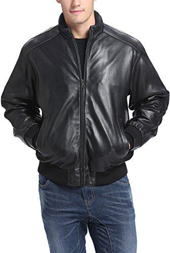 Black Leather Bomber Jacket Men