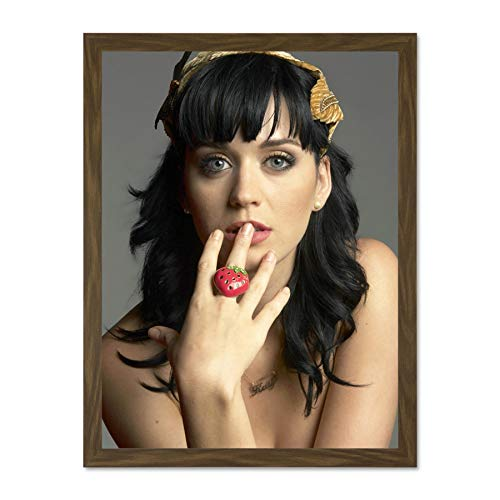 Doppelganger33 LTD Music Artist Portrait Perry Katy Strawberry Large Framed Art Print Poster Wall Decor 18x24 inch Supplied Ready to Hang