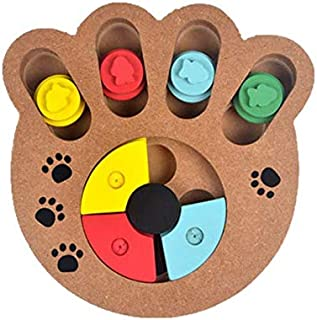 SKEIDO Interactive Toys for Dogs and Cats Food Treated Wooden Dog Toy Eco-friendly Puppy Pet Toy Educational Pet Bone Paw ...