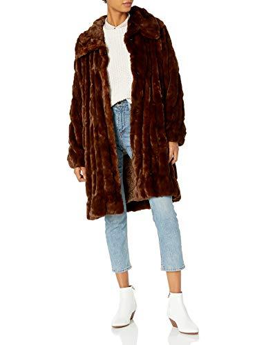 Donna Salyers' Fabulous-Furs Women's Plus Size Couture Mink Faux Fur Stroller Outerwear Coat, Mahogany, 3X -  Donna Salyers' Fabulous Furs, 14227 BRO-BRO-Mahogany-3X