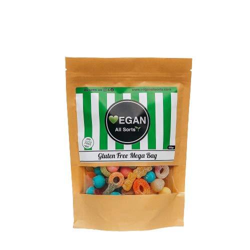Vegan All Sorts Mega Bag Fizzy Senza Glutine Mix Sacchetto di Dolci Vegani, Gummies, Gelatina, Bonbonbons, Cola Bottiglie | Vegetariano | Halal Friendly, Sacchetto regalo, Bomboniere, Dolce