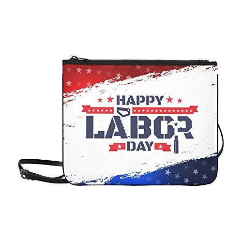 WYYWCY Happy Labor Day sah den Hammer Icon America Custom aus hochwertigem, schlanken Nylon-Clutch mit Umhängetasche