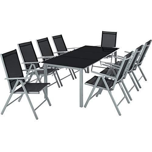 TecTake Aluminio Conjunto Muebles para Jardin 8+1 Silla Adjustable Mesa Cristal terraza (Gris Plateado | No. 402165)