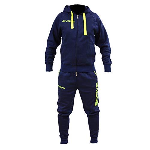 Perseo Sport Tuta Uomo Cotone Felpato Cappuccio Givova Modello LF21 (XL, Blu/Giallo Fluo)